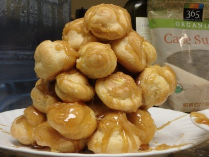The croquembouche we just made for New Year's Eve in our hotel room.